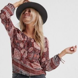 Lucky Brand Red Tapestry Top
